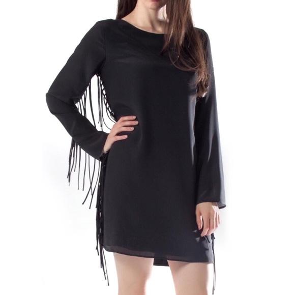 Lavender Brown Dresses & Skirts - Lavender Brown Black Silk Fringe Dress Long Sleeve